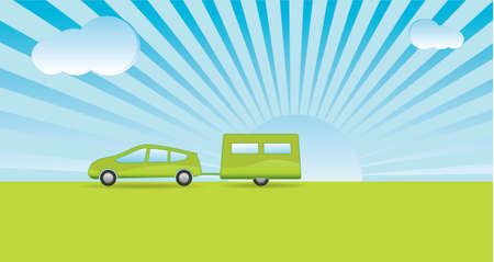 Simplistic style car and caravan with a green theme heading on vacation Vector