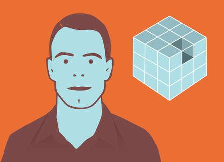 businesslike: Ilustraci�n retro de hombre pensando fuera del cuadro.