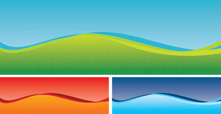 Three multi coloured swoosh banners with subtle star pattern in foreground. Vector