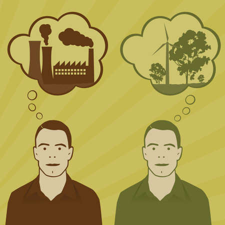 sustain: Energy choices. Two identical men think about pollution and green energy