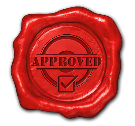 approved: 3d rendered of  wax seal approved Stock Photo