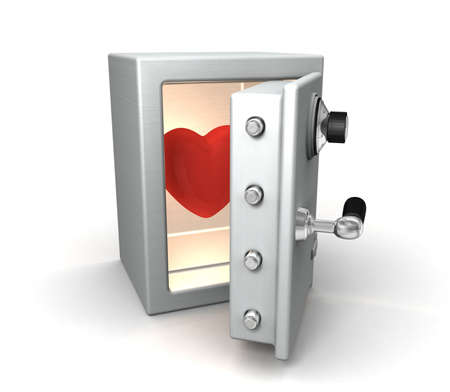 3d rendered of safe with heart photo