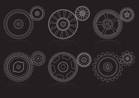 gearshift: gears outline set A Illustration