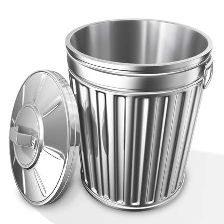 garbage bin: 3D rendered of empty trash can on white background with shadow Stock Photo
