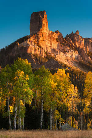 Courthouse Mountain at Sunset. Colorado Autumn Scenic Beauty in the San Juan Mountains.
