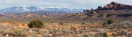 Panoramic Scene from Arches National Park near Moab, Utah.