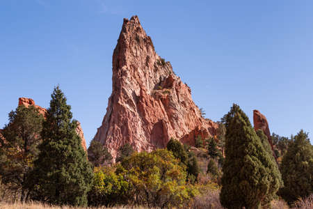 The Scenic Beauty of Colorado - Garden of the Gods, Red Rock Formations Stok Fotoğraf
