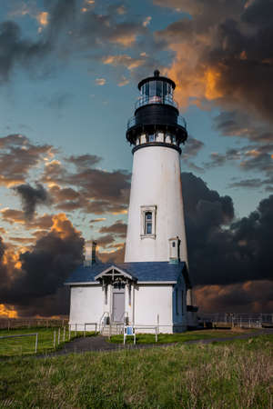 Yaquina Head Lighthouse on the Pacific Coast of Oregon.