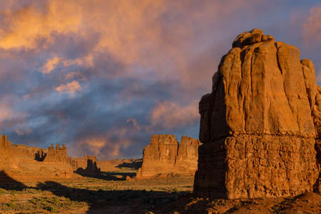 Sunrise in Arches National Park. Travel and Tourism scenes from the Western United States. Red Rock Formations And Dramatic Landscapes Near Moab Utah.