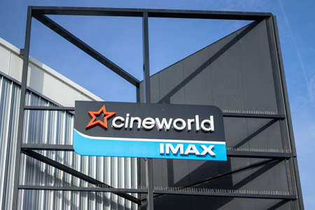 02/05/2020 Chichester, West sussex, UK The sign of an Cineworld Imax cinema or movie theater