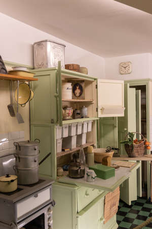 A vintage kitchen from the nineteen sixties with vintage cookware and shopping exactly how it would have looked in the 1960's Editorial