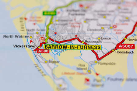 02-19-2021 Portsmouth, Hampshire, UK Barrow in furness and surrounding areas shown on a road map or Geography map