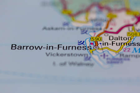 03-01-2021 Portsmouth, Hampshire, UK Barrow in Furness Shown on a road map or Geography map and atlas