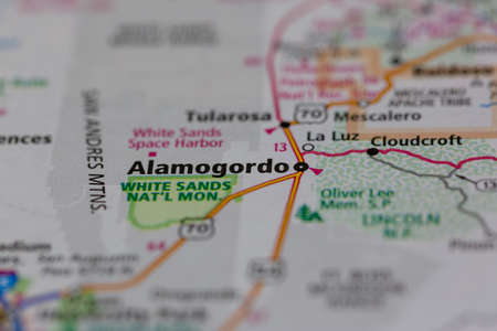 05-24-2021 Portsmouth, Hampshire, UK, Alamogordo New Mexico USA shown on a Geography map or road ma
