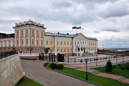 balustrades: North Building Cannon. Kazansky Kremlin. Representative building of the Presidential Administration of the Republic of Tatarstan. Kazan. Tatarstan. Russia.