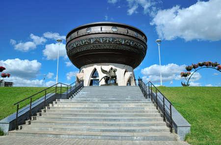 dashi: Kazan, Tatarstan, Russia - July 6, 2016. Kazan Central Wedding Palace. Sculpture winged Bars - symbol of Tatarstan. Sculptor Dashi Namdakov. Editorial