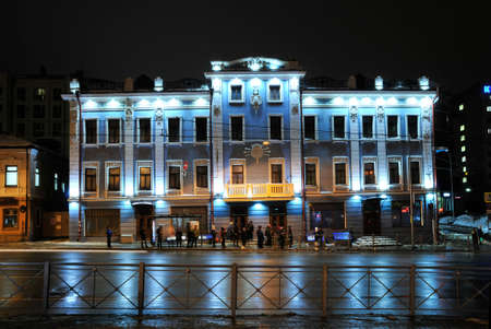 Kazan, Tatarstan, Russia - December 28, 2017. An ancient house, which belonged to merchant Vasily Azhgikhin, a building in the historical center of the city. Pushkin Street, house 38.