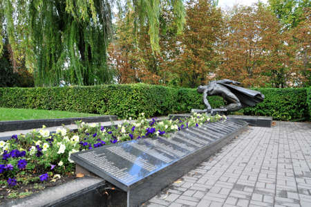 Bila Tserkva  Ukraine - September 25, 2018. Park of Glory. The graves of Soviet soldiers and warriors of the Czechoslovak Brigade of General Svoboda who died in battles for the city in January 1944. 新聞圖片