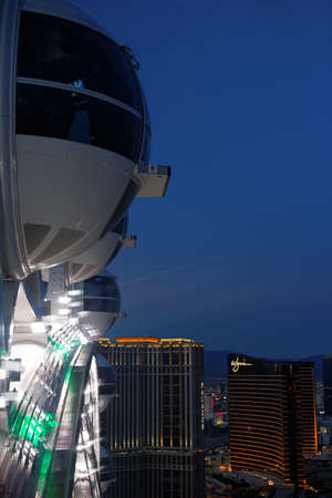 high view of Palazzo and Wynn hotels, Las Vegas, from the Highroller