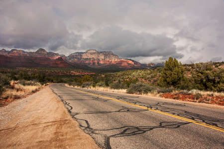 back country: driving through the back country sedona in winter Stock Photo