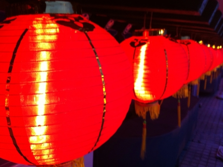 lighted: Lighted Chinese red lantern