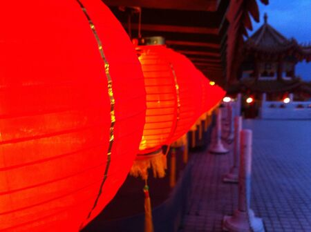 lighted: Chinese lighted lantern in temple  Stock Photo