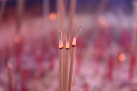 joss: Joss sticks in temple Stock Photo