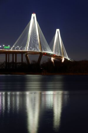 cooper: Ravenel Bridge reflection at night