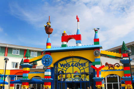 windsor: LEGOLAND, WINDSOR, UK - APRIL 30, 2016: The colorful entrance to the Legoland Hotel