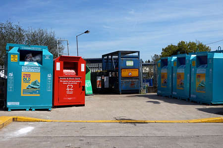 CAMBERLEY,ENGLAND, MAY 05 2016: Wilton Road Recycling Centre Editorial