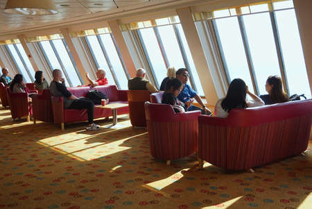 lounge bar: DOVER, KENT, ENGLAND, AUGUST 10 2016: Passengers in the family lounge bar area on the cross channel ferry to France Editorial