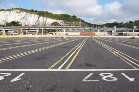 dover: DOVER, KENT, ENGLAND, AUGUST 10 2016: Empty lanes at the embarkation point for the cross channel ferry