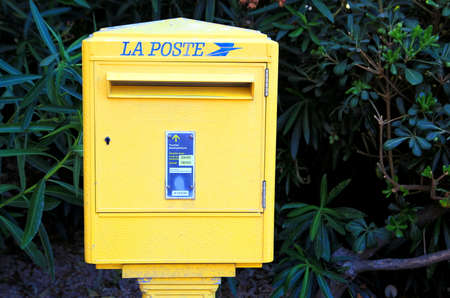 letter box: PORT GRIMAUD, PROVENCE, FRANCE - AUGUST 23 2016: French post (La Poste) letter box for mail Editorial