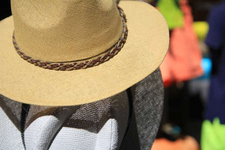 fedora: Straw fedora hats for men in beigge and gray with blurred background