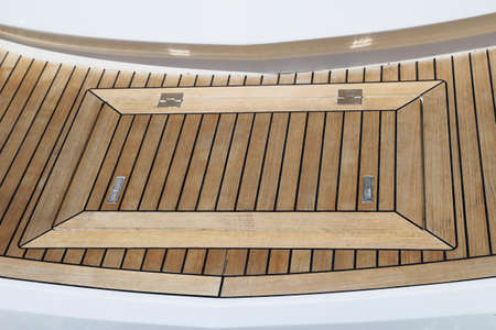 Close up detail of deck hatch on moden luxury motor boat