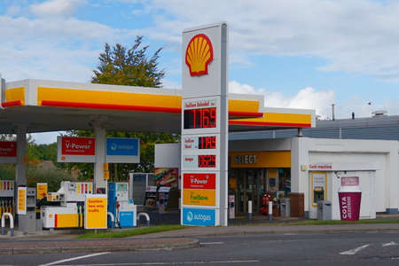 fuelling pump: Basingstoke, Hampshire, UK - October 17 2016: Shell petrol filling station