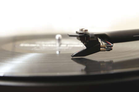 lp: Modern high quality turntable record player playing a vinyl analogue music LP Stock Photo