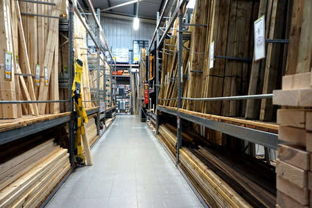 Basingstoke, UK - December 05 2016: Wood and timber section of the B&Q superstore. B&Q is a major DIY Home Improvement chain owned by the Kingfisher group Editorial