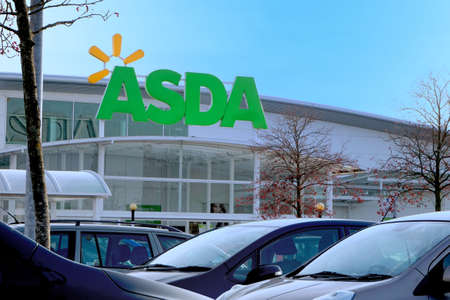 Basingstoke, UK - December 05 2016: Store front of the ASDA supermarket in Brighton Hill.