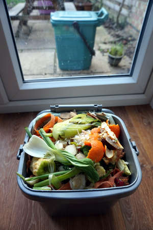 Indoor container of domestic food waste, ready to be tipped into the outdoor bin