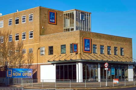 Blackwater, UK - 21 Jan 2017: Exterior shop front of the Aldi store. Aldi are a famous German discount supermarket