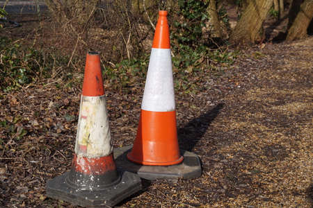 Traffic cones abandoned on waste land near woods Imagens