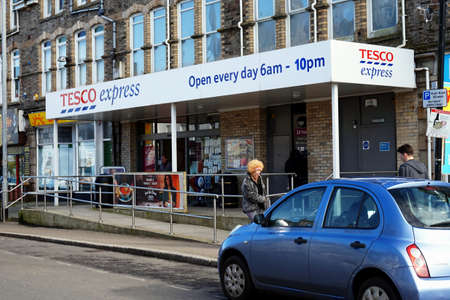 Newquay, Cornwall, UK - April 1 2017: Exterior of the Tesco Express convenience store Editorial