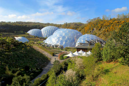 Bodelva, Cornwall, UK - April 4 2017: Exterior of the biomes at the Eden Project Environmental exhibition in Cornwall, England