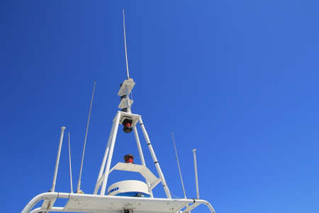 Saint-Tropez, Provence, France - August 21 2016: Radar and navigation equipment on a passenger ferry in the Mediterranean