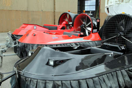 the british museum: Lee-on-the-Solent, Hampshire, UK - June 10 2017: Three small hovercraft at the Hovercraft Museum in England