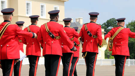 Sandhurst, UK - June 18 2017: Military Marching Band of the Corps of Royal Engineers leaving the parade ground