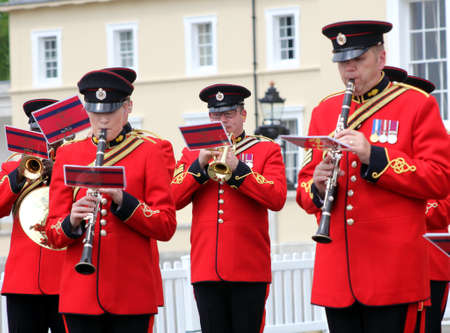 Sandhurst, UK - June 18 2017: Brass and woodwind players of the Military Band of the Corps of Royal Engineers Editorial