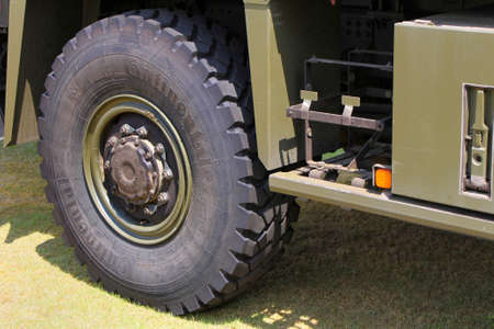 Sandhurst, Surrey, UK - June 18th 2017: Close up of Continental Tyre fitted to British Army MAN truck