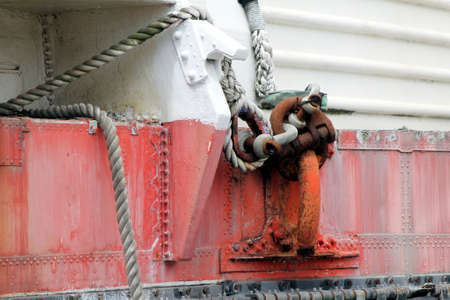 Ropes and cables attached to a cleat on the side of a vintage SR N4 hovercraft